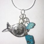 "Turquoise Stone Pendant ,""Hey"" to Ward off the Evil Eye"
